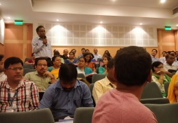 Teachers sharing their experience with previous Vigyan Pratibha workshops